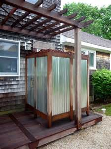 out door shower seems simple corrugated metal sheets framed in wood