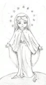 Drawing Virgin Mother Mary Sketch Coloring Page sketch template