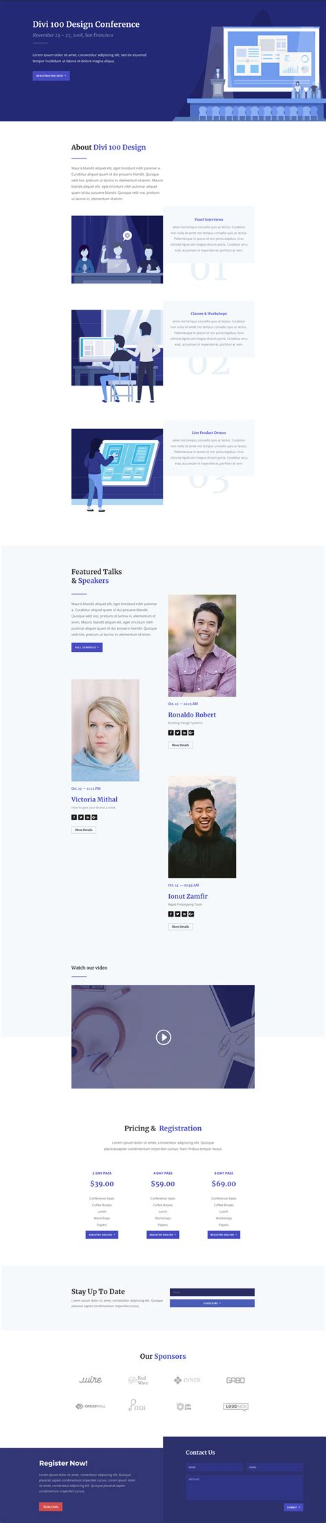 layout landing page get an engaging design conference divi layout pack for