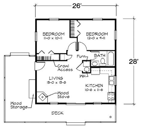 Cabin Floor Plans With Garage by Cabin Style House Plan 2 Beds 1 Baths 728 Sq Ft Plan