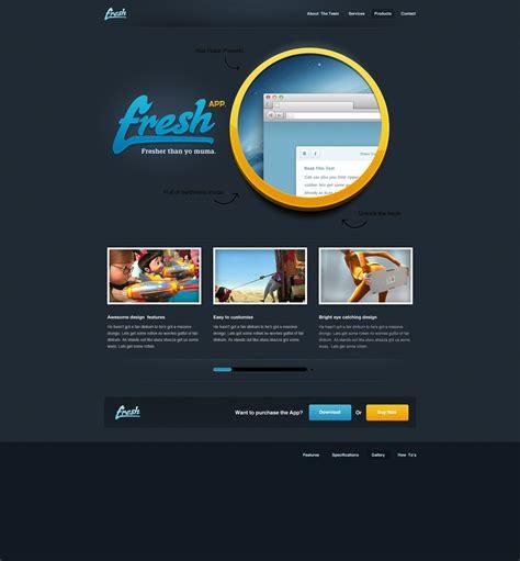 app template psd free black fresh app website template psd at freepsd cc