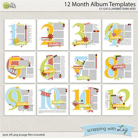 Digital Scrapbook Template 12 Month Album Scrapping With Liz 12x12 Digital Scrapbook Templates