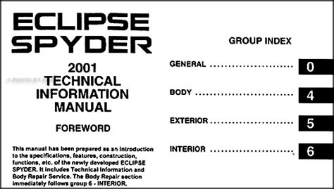 automotive service manuals 2001 mitsubishi eclipse user handbook 2001 mitsubishi eclipse spyder body repair shop manual original