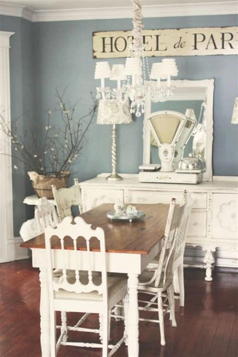 shabby chic paris blue and white dining room paint
