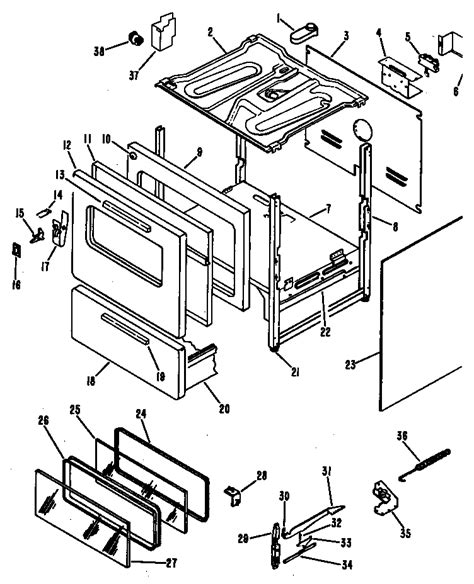 hotpoint oven parts diagram oven diagram parts list for model rb63601 hotpoint parts