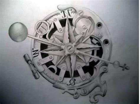 compass tattoo with gears tatuaggio rosa dei venti stella polare e bussola