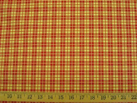 red and gold curtain fabric 1 5 yd red and yellow gold check drapery upholstery fabric