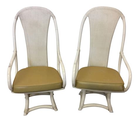 funky high back bamboo lounge or dining chairs chairish