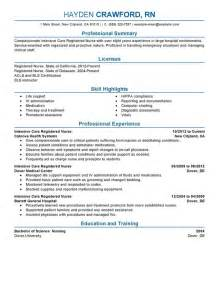 Nursing Resume by Intensive Care Resume Sle My Resume