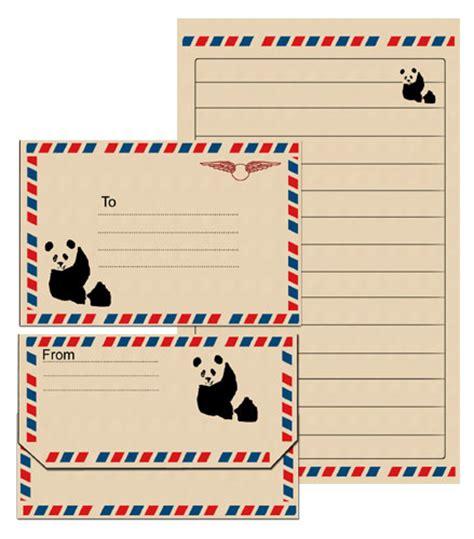 printable panda stationery panda notepaper and envelope printables