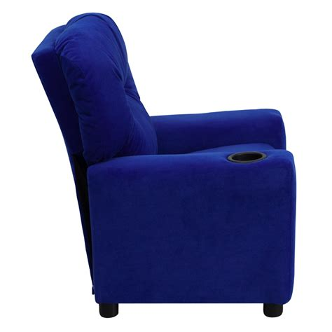 child size recliner with cup holder contemporary blue microfiber kids recliner w cup holder