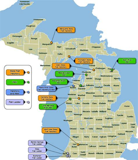 michigan dnr lake maps dnr a map of michigan s state fish hatcheries weirs