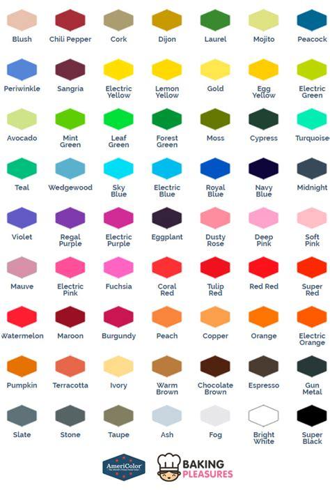 food color chart americolor gel paste food colour colour chart