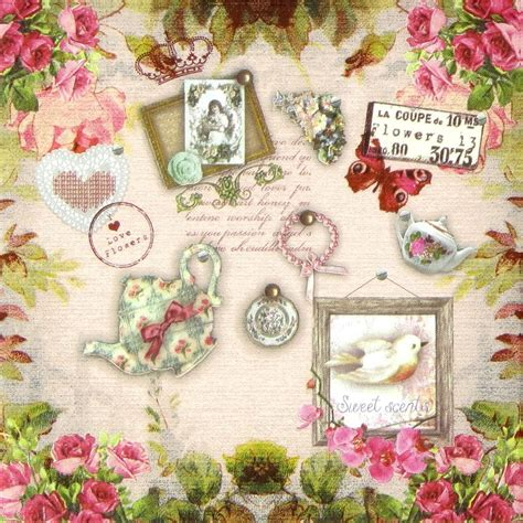 Vintage Decoupage - 4x single table paper napkins for decoupage craft