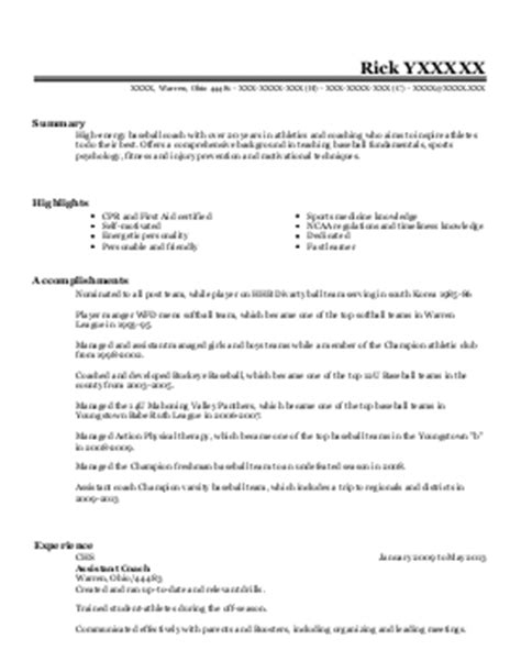 track and field coach resume exle 28 images college