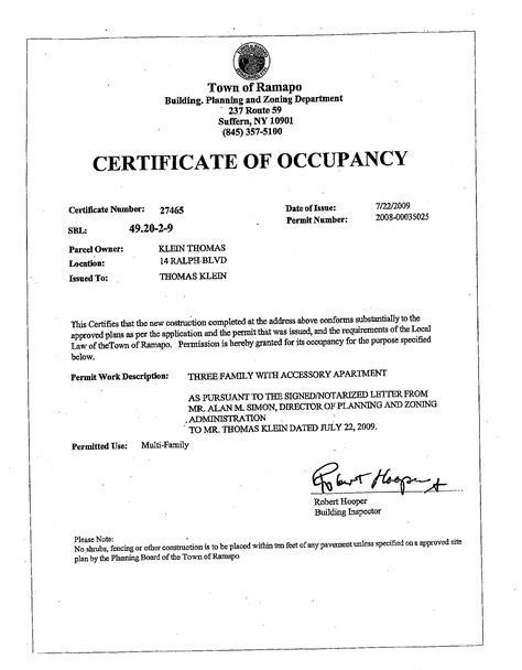 certificate of occupancy template questionable activity at ramapo planning dept
