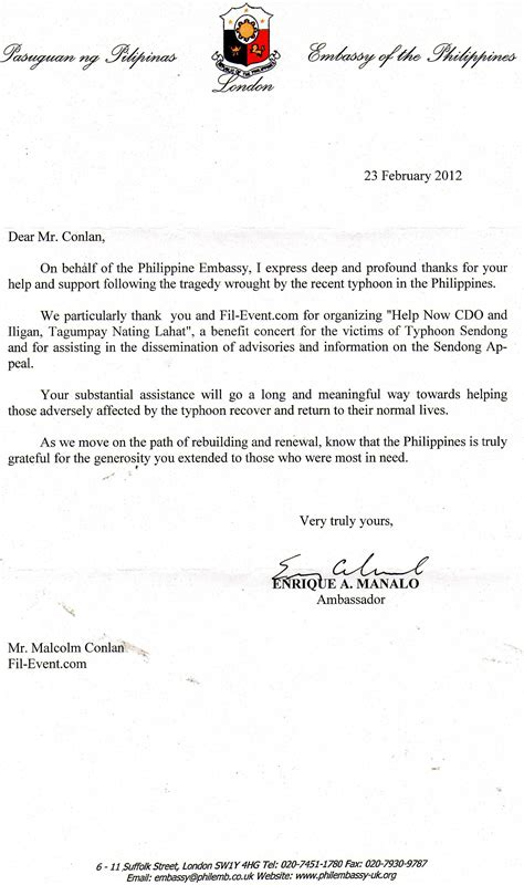 Philippine Embassy Invitation Letter Philippine Embassy Invitation Letter Invitation Librarry