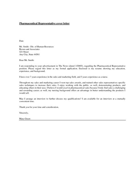 sle cover letter for sales representative with no