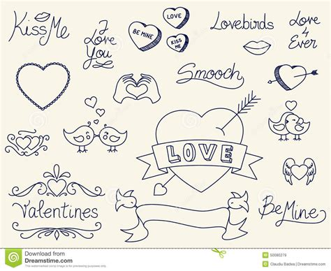 doodle valentines day s day doodles stock illustration image 50080279