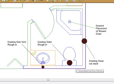 basement bathroom rough in diagram install shower in basement that only has 2 piece rough in