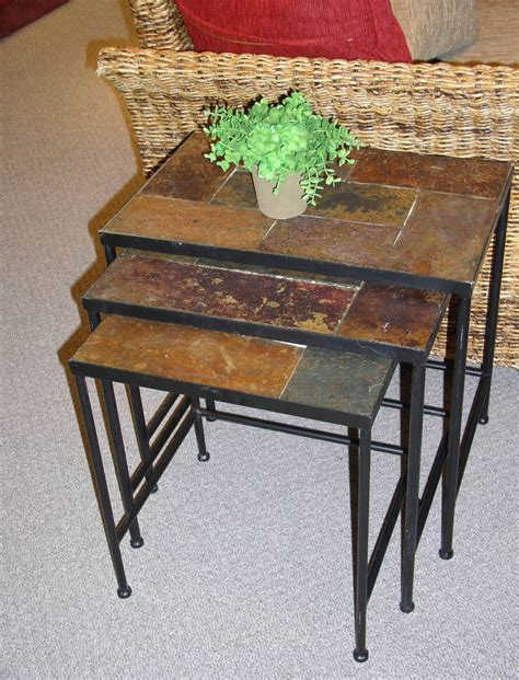 Wrought Iron End Tables Living Room by Slate Top End Table Or How About Slate Tile On The Top