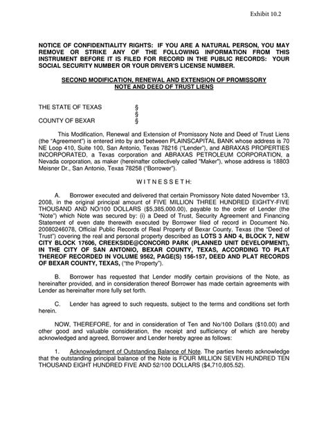 sle subordination agreement template modification to promissory note abraxas petroleum corp