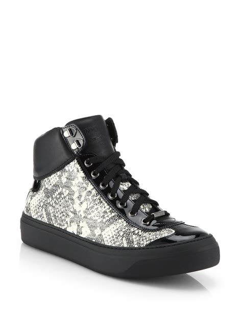 jimmy choo sneakers mens jimmy choo argyle snake print high top sneakers in black