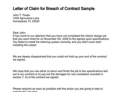 Demand Letter To Contractor To Complete Work Letter Of Claim