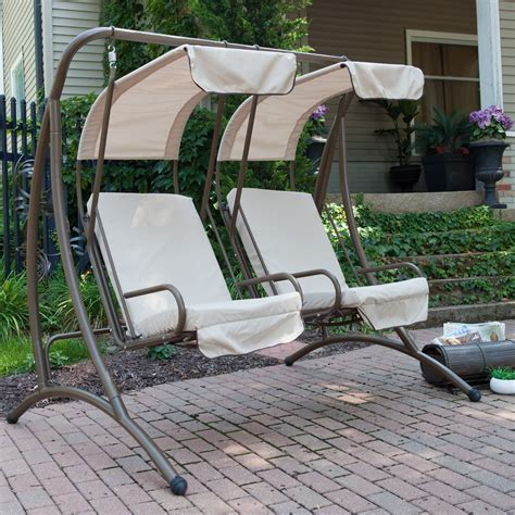 exterior wicker 2 person upholstered patio swing with