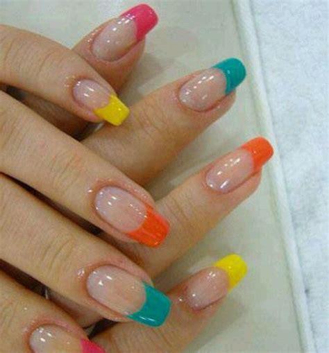 easy nail art bright colors u 241 as francesas de colores u 241 as pinterest