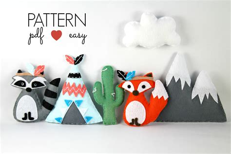 pattern for felt baby mobile tribal felt sewing pattern use for baby mobiles
