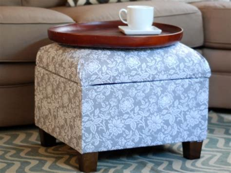How To Re Cover An Upholstered Ottoman How Tos Diy How To Reupholster A Storage Ottoman