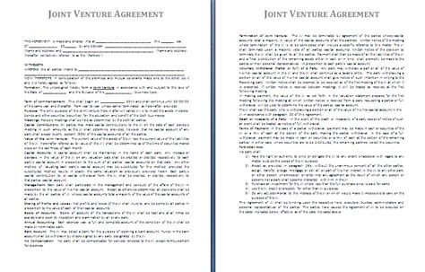 template of joint venture agreement 3 sle joint venture agreementreport template document report template