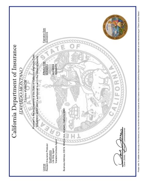 ca department  insurance license