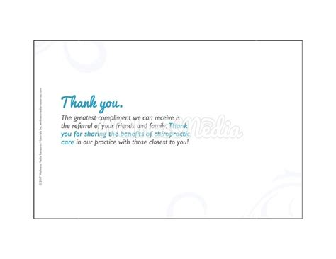Thank You Letter Referral chiropractic thank you referral postcard