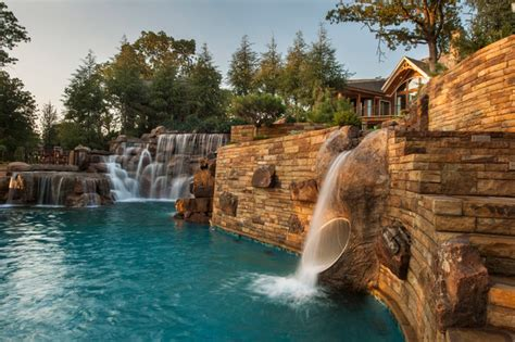 outdoor edge walk in cooler mountain mine themed pool with waterfalls slide and more