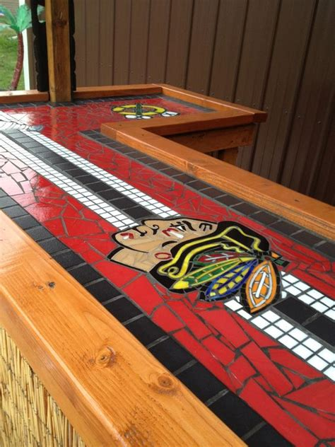view of the length of the bar top chicago blackhawks