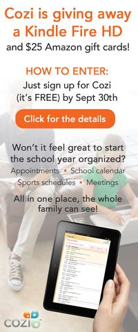 Cozi Calendar Sign In Enter To Win A Kindle Hd From Cozi Signup