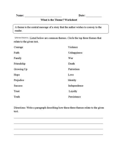 literature themes fifth grade 5th grade theme worksheets worksheets for all download