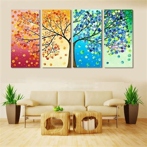 Home Wall Decor by 4 Frameless Colourful Leaf Trees Canvas Painting