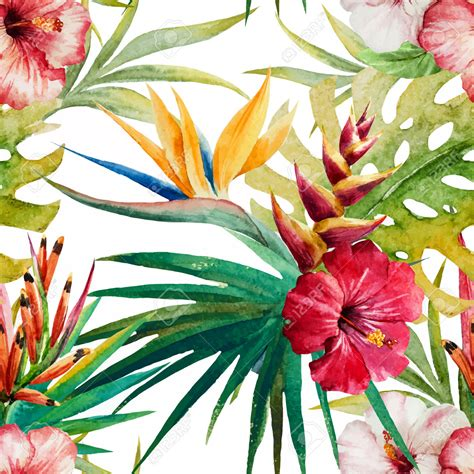 watercolor tropical pattern beautiful vector pattern with nice watercolor tropical