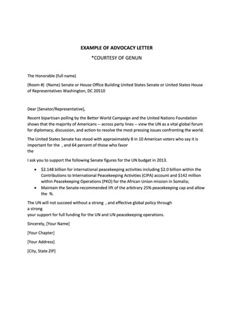 advocacy letter template exle of advocacy letter template printable pdf