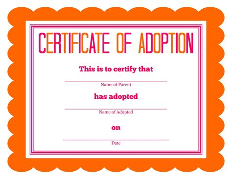 pet adoption certificate template pet fish birth certificate pet birth certificate word
