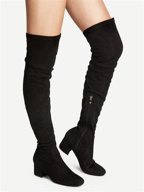 knee high chunky heel boots black knee high chunky heel boots shein sheinside
