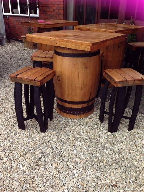 whiskey barrel table and chairs secondhand pub equipment pub tables square top oak