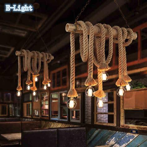 Living Room Rope Lighting Vintage Rope Pendant Lights L Loft Creative Personality