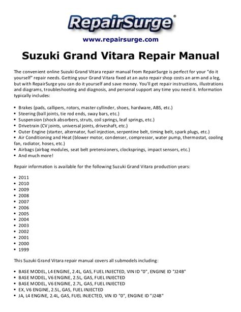 Suzuki Vitara Workshop Manual Free Suzuki Grand Vitara Repair Manual 1999 2011