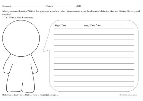 Create A Character Worksheet Free Esl Printable Worksheets Made By Teachers Create Your Own Worksheet Template