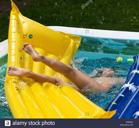 Toddler child boy learning to swim   half drowning