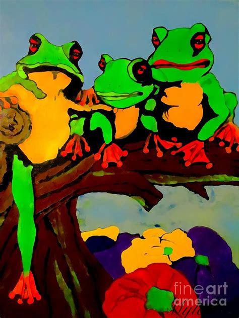 Family Frog Limited frog family hanging out on a limb painting by saundra myles